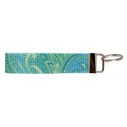 Green Paisley Patterned Wristlet Key Fob Keychain