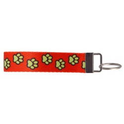 Red Busy Paws Wristlet Key Fob Keychain