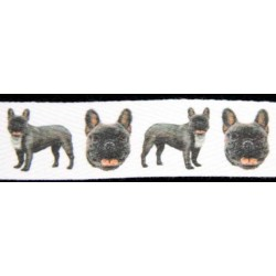French Bulldog Cotton Ribbon - Various Lengths & Widths