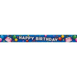 7/8 Inch Blue Happy Birthday Grosgrain Ribbon