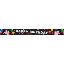 7/8 Inch Black Happy Birthday Grosgrain Ribbon