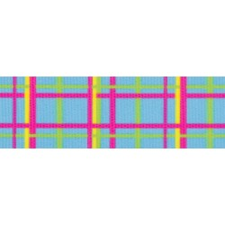 Spring Blue Plaid Grosgrain Ribbon