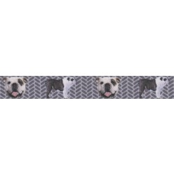 7/8 Inch English Bulldog Tough Guy Grosgrain Ribbon
