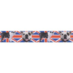 7/8 Inch English Bulldog Union Jack Grosgrain Ribbon