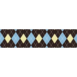 5/8 Inch Country Club Argyle Grosgrain Ribbon Closeout, 1 Yard