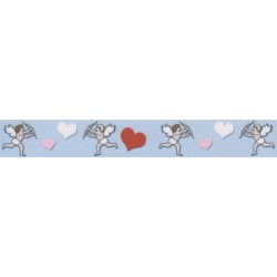 3/8 Inch Valentine's Cupid's Hearts Grosgrain Ribbon Closeout, 1 Yard