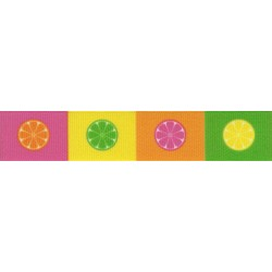 5/8 Inch Citrus Blocks Grosgrain Ribbon Closeout, 1 Yard