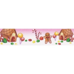 5/8 Inch Gingerbread Land Grosgrain Ribbon Closeout, 1 Yard