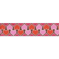 7/8 Inch Heart Parade Grosgrain Ribbon Closeout, 1 Yard