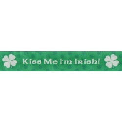 7/8 Inch Kiss Me I'm Irish Grosgrain Ribbon