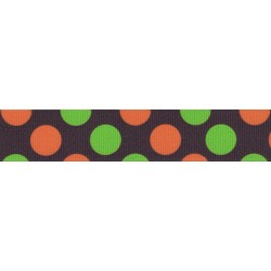 5/8 Inch Orange & Green Dots Grosgrain Ribbon Closeout, 1 Yard