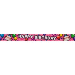 7/8 Inch Pink Happy Birthday Grosgrain Ribbon