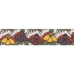 7/8 Inch Pilgrim Turkey Grosgrain Ribbon