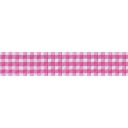 Pink and White Gingham Grosgrain Ribbon