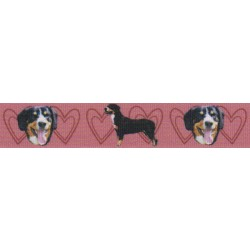 7/8 Inch Red Entlebucher Mountain Dog Grosgrain Ribbon