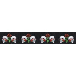 Skull and Roses Grosgrain Ribbon
