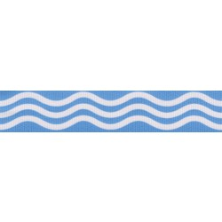 7/8 Inch Blue Wave Grosgrain Ribbon Closeout, 10 Yards