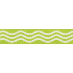 7/8 Inch Green Wave Grosgrain Ribbon Closeout, 5 Yards