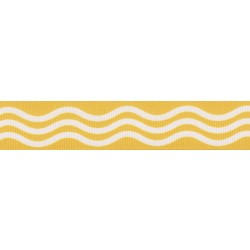 7/8 Inch Gold Wave Grosgrain Ribbon Closeout, 10 Yards