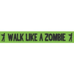 7/8 Inch Green Walk Like a Zombie Grosgrain Ribbon Closeout, 1 Yard