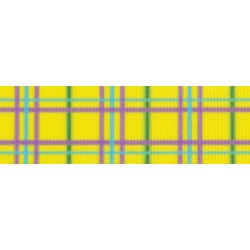 5/8 Inch Spring Yellow Plaid Grosgrain Ribbon Closeout, 1 Yard