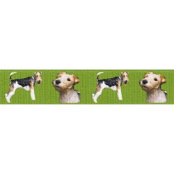 Wire Fox Terrier Green Grosgrain Ribbon