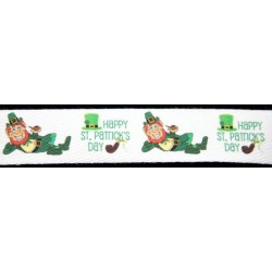 Happy St. Patrick's Day Cotton Ribbon - Various Lengths & Widths