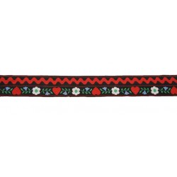 1 3/8 Inch Hearts & Flowers Woven Ribbon