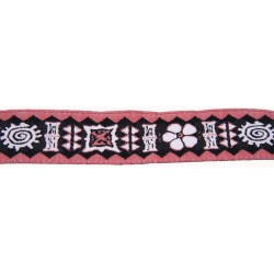 15/16 Inch Lite Red Totem Woven Jacquard Braid Ribbon