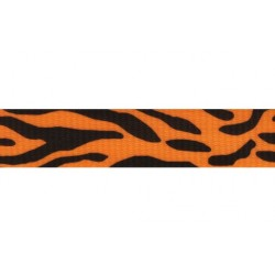 1 Inch Orange Tiger Stripe  Polyester Webbing Closeout, 1 Yard