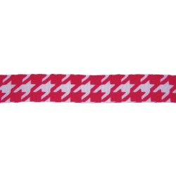 7/8 Inch Wide Shock Pink Houndstooth Offray Polyester Ribbon - Various Lengths