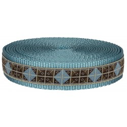 1 Inch Blue & Brown Diamond Ribbon on Ocean Blue Nylon Webbing Closeout