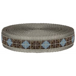 1 Inch Blue & Brown Diamond Ribbon on Silver Nylon Webbing Closeout