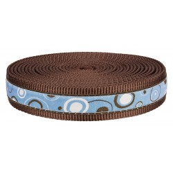 1 Inch Blue and Brown Orbs Ribbon on Brown Nylon Webbing Closeout