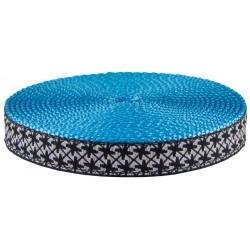 3/4 Inch Black and White Pinwheels Ribbon on Ice Blue Nylon Webbing Closeout