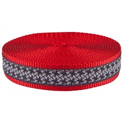 1 Inch Black and White Pinwheels Ribbon on Red Nylon Webbing Closeout