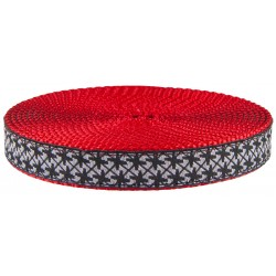 3/4 Inch Black and White Pinwheels Ribbon on Red Nylon Webbing Closeout