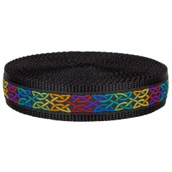 1 Inch Celtic Knots Ribbon on Black Nylon Webbing Closeout