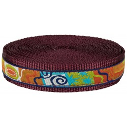 1 Inch Fall Frenzy Ribbon on Burgundy Nylon Webbing Closeout