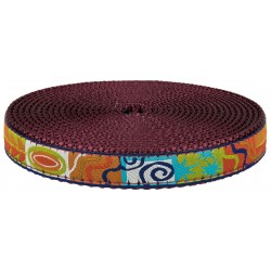 3/4 Inch Fall Frenzy Ribbon on Burgundy Nylon Webbing Closeout