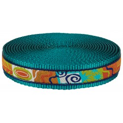 1 Inch Fall Frenzy Ribbon on Teal Nylon Webbing Closeout