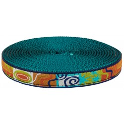 3/4 Inch Fall Frenzy Ribbon on Teal Nylon Webbing Closeout