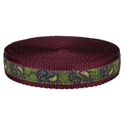 1 Inch Dark Paisley on Burgundy Nylon Webbing Closeout
