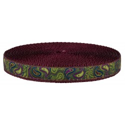 3/4 Inch Dark Paisley On Burgundy Nylon Webbing Closeout