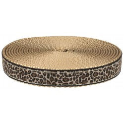 3/4 Inch Leopard Print Ribbon on Copper Gold Nylon Webbing Closeout