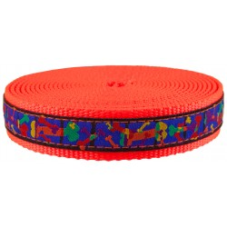 1 Inch Multi-Colored Bones Ribbon on Neon Orange Nylon Webbing Closeout