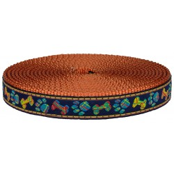 3/4 Inch Plaid Bones and Paws Ribbon on Orange Nylon Webbing Closeout