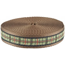 1 Inch Preppy Puppy Plaid Ribbon on Coyote Tan Nylon Webbing Closeout