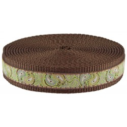 1 Inch Paisley Pairs Ribbon on Brown Nylon Webbing Closeout