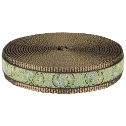 1 Inch Paisley Pairs Ribbon on Coyote Tan Nylon Webbing Closeout